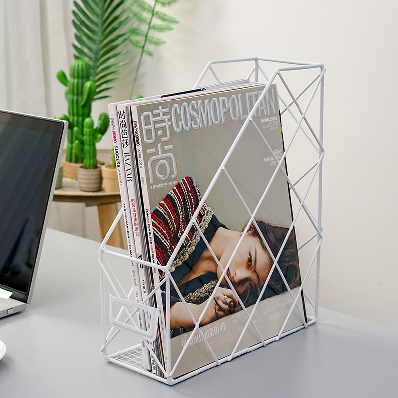 Ins Grid Iron Storage Rack Household Desktop Book Magazine Finishing Shelf Metal Creative Simple Office File Management Case