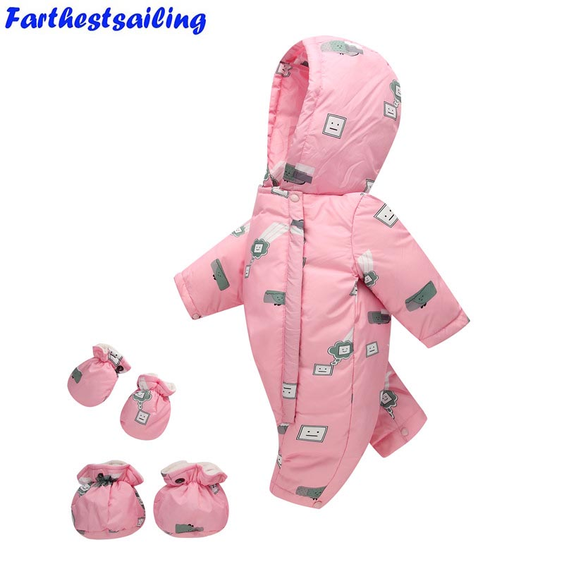 Newborn Baby Girls Rompers Winter Thick Warm Toddler Hooded Jumpsuit Kids Outwear Boys Feathers Clothing Suit Children Climbing baby rompers winter thick climbing clothes newborn boys girls warm jumpsuit 2018 high quality ski suit outwear for infant 0 18 m