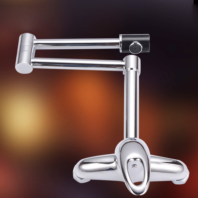 Luxury folding Brass Kitchen Faucet Wall Mounted folding Faucet ...