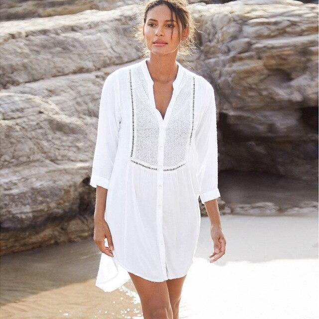 Preceden a las mujeres verano playa vestido de camisa de cuello V vestido Crochet de encaje asimétrica Vestidos traje de mujer