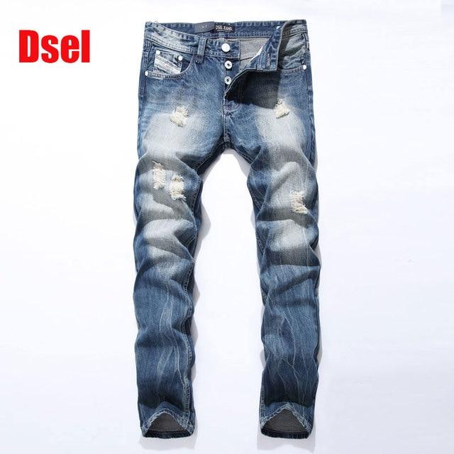 2e707852b3e6 Famous Dsel Brand Fashion Designer Jeans Men Straight Blue Color Printed Mens  Jeans Ripped Jeans