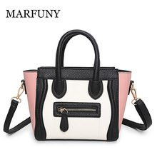 hot deal buy marfuny fashion patchwork woman shoulder bags soft pu leather handbags high quality casual famous brand shoulder bags for lady