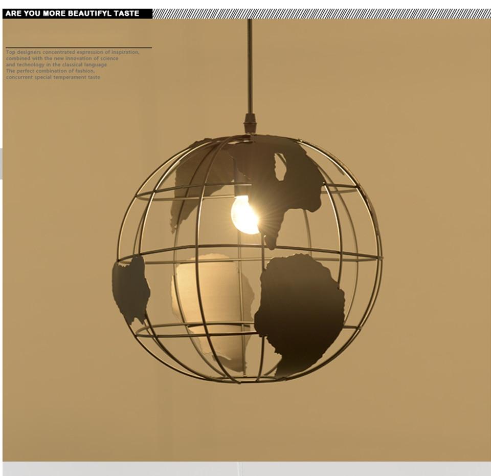 Современный подвесной светильник в скандинавском стиле с шаром, карта мира, E27, лампа белого и черного цвета для гостиной, кафе, бара, лофт, винтажный светильник - 6