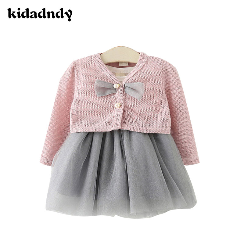 ФОТО 2017 Baby Two-Piece Skirt Clothing Spring Suit (dress + shirt) Baby Children's Princess Dress Girls Bow Cotton  YD123