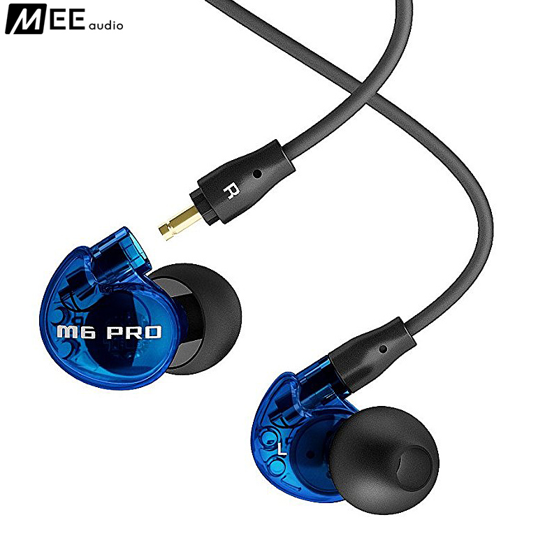 Original MEE M6 PRO Universal 3.5mm Noise Isolating Music In-Ear Monitor Headset Built In Mic With Detachable Cables Blue Color  dhl free 2pcs black white m6 pro universal 3 5mm wired in ear earphone noise isolating musician monitors brand new headphones