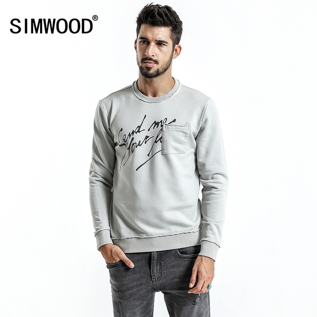 Simwood marca hoodies dos homens 2020 primavera nova moda magro ajuste carta impressão o pescoço camisolas masculinas plus size agasalho wt017020