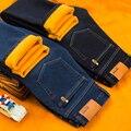 Outono/Inverno Engrosse Além de veludo de algodão calças de brim do homem Clássico Moda masculina Básica seção Quente slim fit calças adolescente