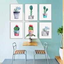 Moderne Aquarell Grn Sukkulente Kaktus Poster Nordic Wandkunst Leinwand Malerei Wohnzimmer Decor Bild Druckt Keine Rahmen