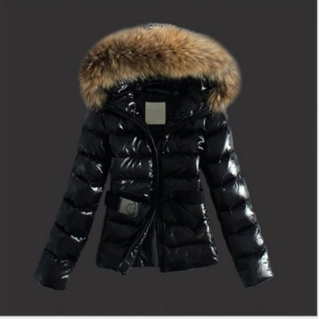 Womens Faux Fur collar Parka Down Cotton Peacoat Belt Hooded Padded coat quilted jacket Slim Fit Snow Warm 2Colors