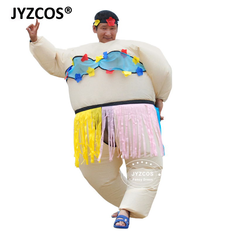 JYZCOS 2018 Purim Halloween Inflatable Costume Carnival Cosplay Party Adult Inflatable Hawaiian Dance Costume Funny Game Dress
