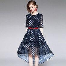 Dress Summer Women 2019 New Fashion Vintage Polka Dot Round Neck Short Sleeves French Style Slim Elegant Irregular Dress Midi