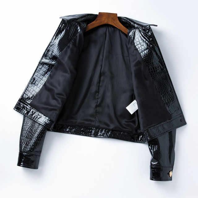 Женская куртка из натуральной кожи, новинка 2019 года, модная короткая обтягивающая куртка из овечьей кожи, готическая Черная верхняя одежда, пальто chaqueta mujer