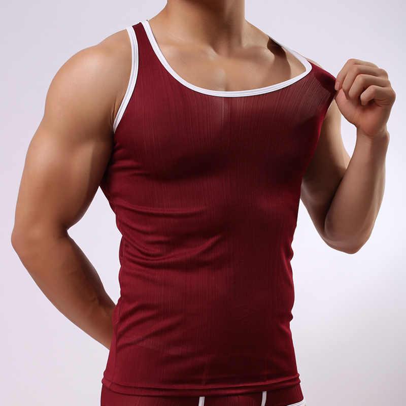 7878659b48207e 2017 Summer Fashion Brand Ribbed Transparent Men Sexy Tank Tops Gay Male  Vest Undershirt Singlets Size
