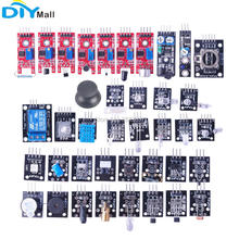 цена на 37 in 1 Sensor Kit Relay Module Laser Temperature Humidity Flame Infrared Receiver Obstacle Avoidance Hall Magnetic for Arduino