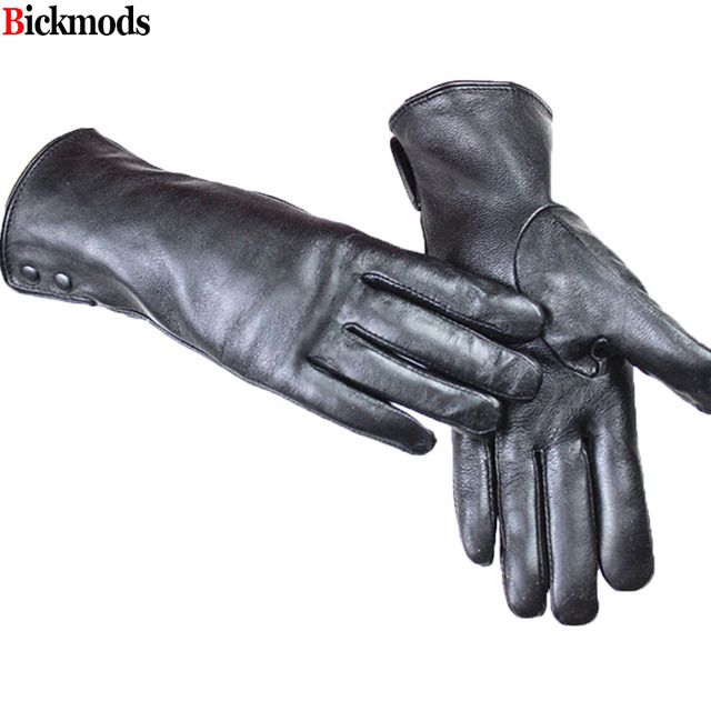 Leather Gloves Metal Button...