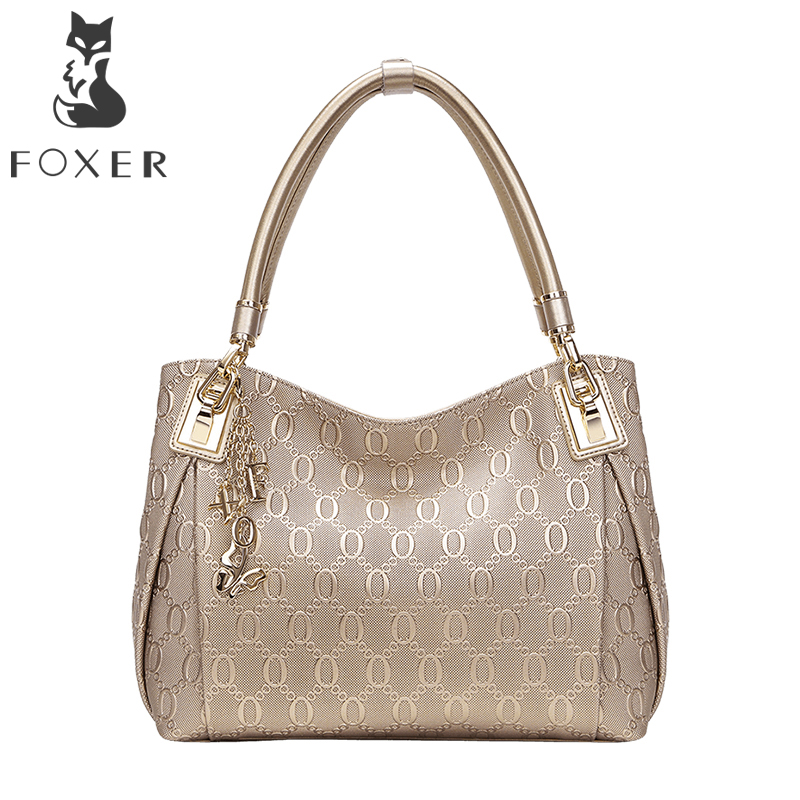Фотография FOXER Brand Article Women Handbags Leather Shoulder Bag for Female Fashion Totes Purse Tassel Bags for Women