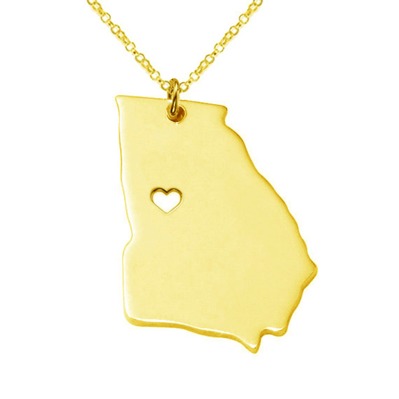 5PCS Newly American State Georgia Necklace 316 Stainless Steel Heart Map Necklace 3Colors