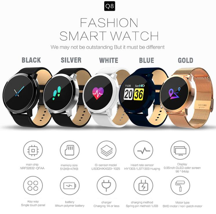 NAIKU Q8 Smart Watch OLED Color Screen men Fashion Fitness Tracker Heart Rate Blood Pressure Oxygen Smartwatch 1