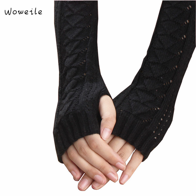 Woweile#2001 Winter Autumn Warm Hollow Out Gloves Keyboard Leak Finger Knit Gloves For Women