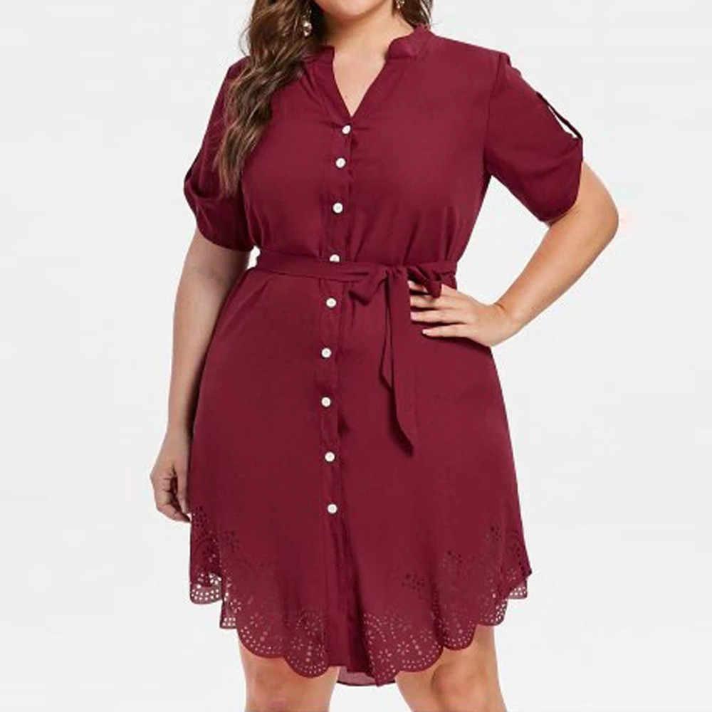 e62a76d77e24 Detail Feedback Questions about Plus Size Women Summer Dress Red Short  Sleeve Floral Lace Button Work Office Mini Dresses Size XL 5XL on  Aliexpress.com ...