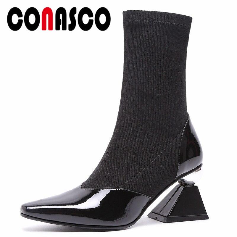 CONASCO femmes mi-mollet bottes étranges talons hauts bout pointu Martin chaussures femme mode marque fête mariage chaussures chaussettes bottes