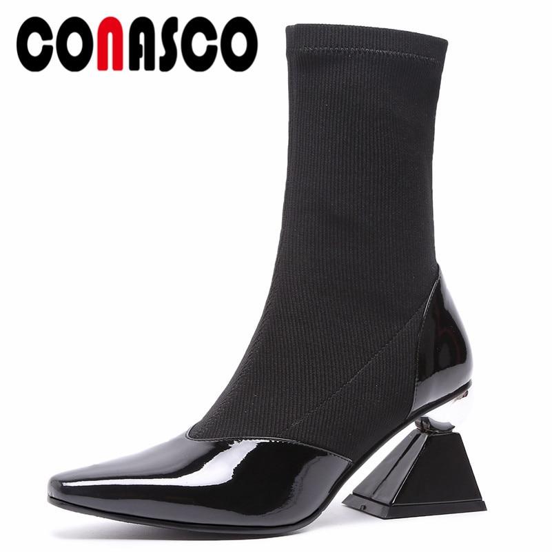 Mulheres Mid calf Botas CONASCO Estranho Salto Alto Dedo Apontado Martin Sapatos Sapatos de Festa de Casamento Da Mulher Da Forma Da Marca Meias botas