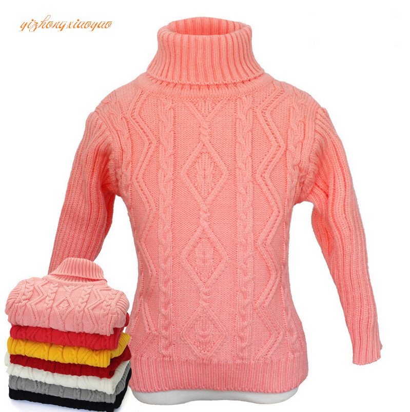 2016 Baby Boys Girls Sweater Children Kids Unisex Winter Autumn Pullovers Knitting Turtleneck Warm Outerwear Sweaters