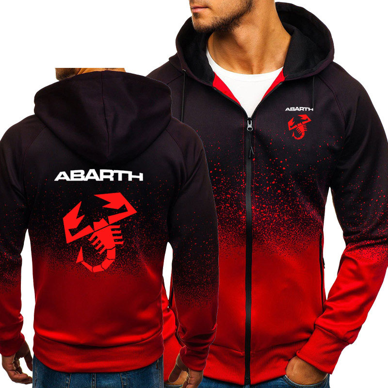 Hoodies Men Abarth Car Logo Print Casual HipHop Harajuku Gradient Color Hooded Fleece Sweatshirts Zipper Jacket Man Clothing