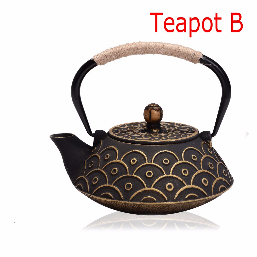 New 7 Chioces Cast Iron Teapot Set Japanese Tea Pot Tetsubin Kettle Enamel 900ml Kung Fu Infusers Metal Net Filter Cooking Tools 7