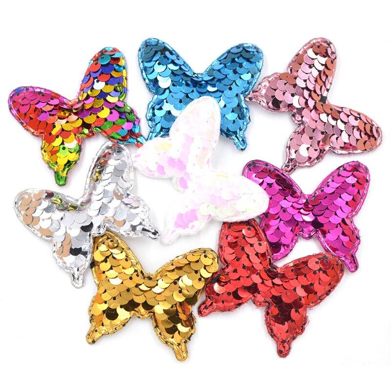 16Pcs rembourré papillon décoratif artisanat paillettes Applique Brillant à Coudre PATCHES