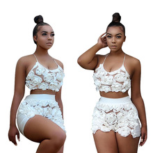 Two Piece Set Top and Shorts Womens Flowers Suspenders Sexy Pants Two-piece Night Club Ensemble Femme 2 Summer