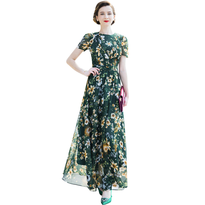 Mousseline de soie D'été Plage Piste tenue de fête Vert Maxi Femmes de robe florale de Soirée Rétro robe longue imprimée 6783