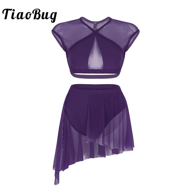 TiaoBug Women Asymmetrical Ballet Tutu Dance Wear Female Splice Crop Top With Ballerina Skirt Contemporary Lyrical Dance Costume