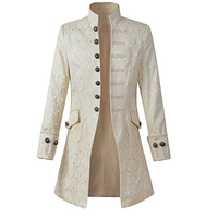Steampunk Mens Frock Coat Tenchcoat Open Stitch Slim Gothic Tench Coats Long Jacket Men Punk Vintage Overcoat Velvet Button