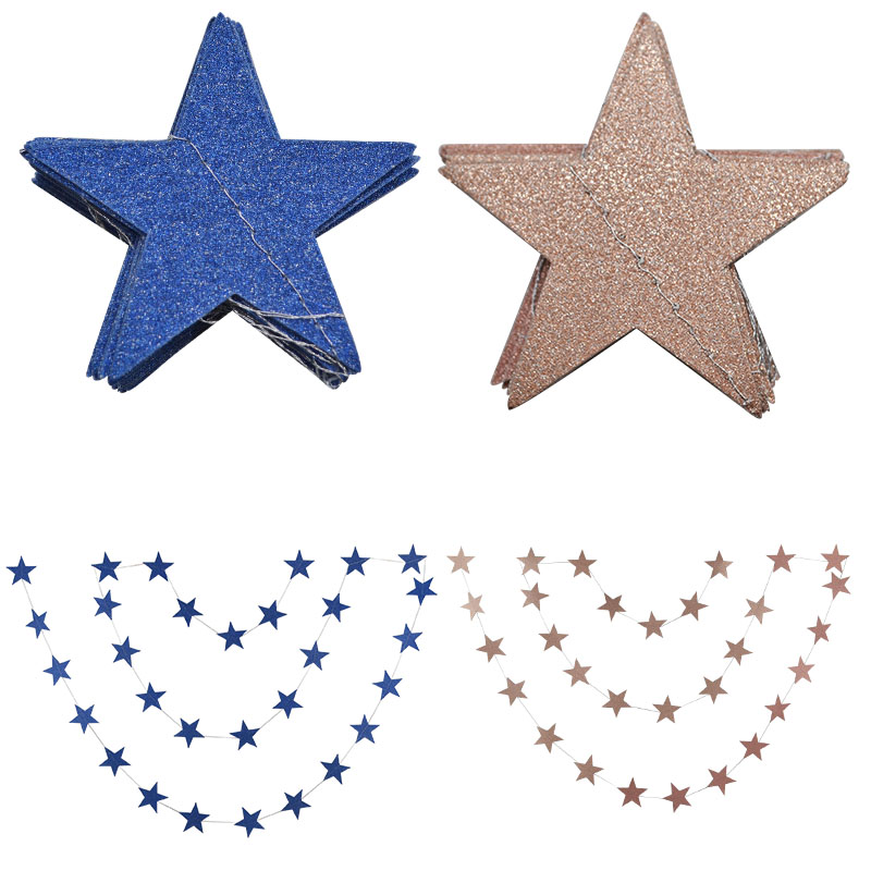 Star Paper Garland Hanging Bunting Baby Shower Birthday String Streamers Wedding Screen Decor Paper Flags Party Supplies in Banners Streamers Confetti from Home Garden