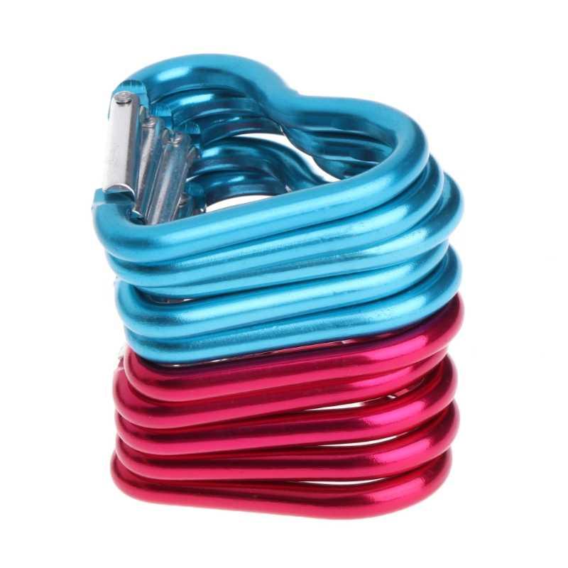 10 Uds anillo de aluminio al aire libre llavero de corazón gancho escalada Camping al aire libre