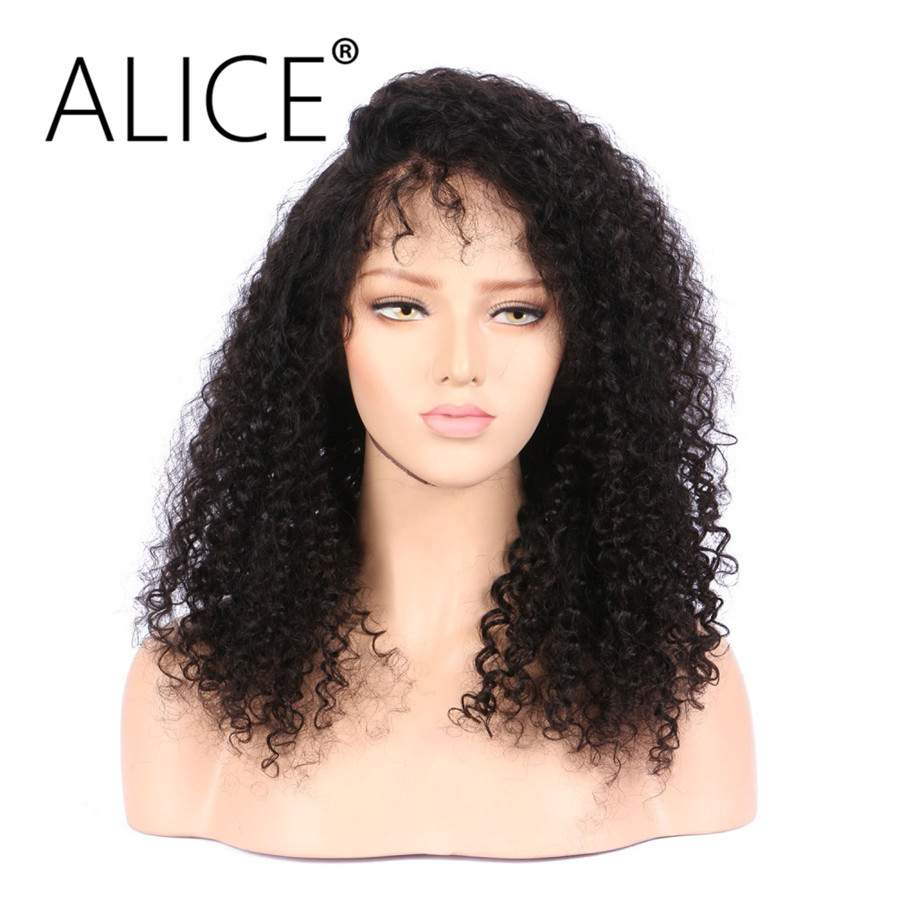 ALICE Pre Plucked Lace Front Human Hair Wigs 150 Density Kinky Curly Natural Black Brazilian Non Remy Hair Wigs Bleached Knots