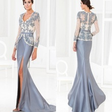 Sexy 2016 Mother Of The Bride Dresses Mermaid Slit Gray Apppliques Beaded Long Brides Mother Dresses