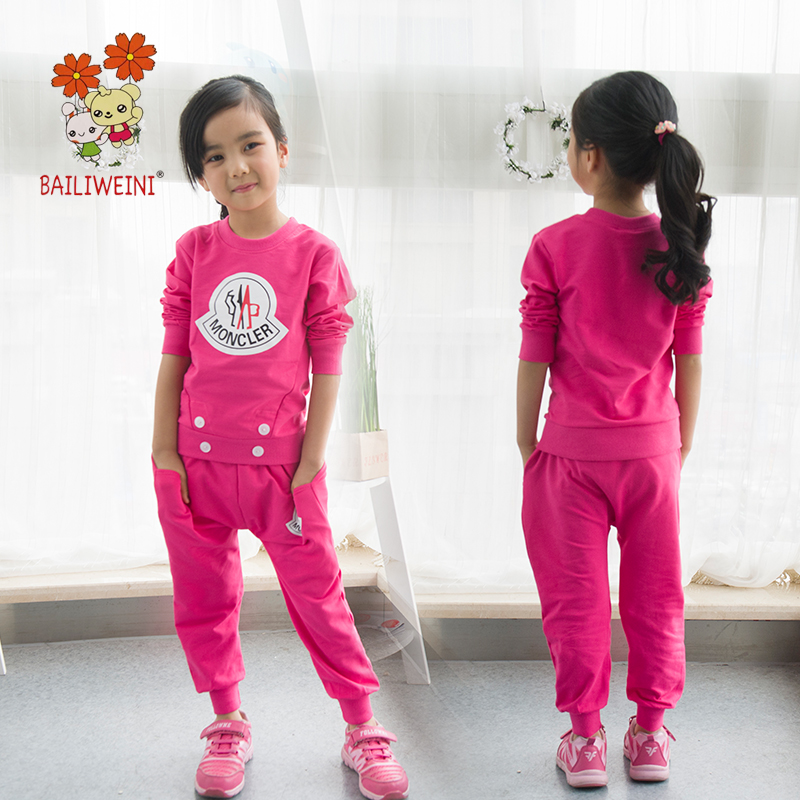 BAILIWEINI2018 trend boys and girls sports suit cartoon cat long-sleeved suit sweater long-sleeved pants two sets