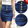 2017 New Brand Female Retro Skirt Womens Summer Plus Big size 4XL XXXXL Breasted High Waist Package hip Denim Jeans Mini Skirts