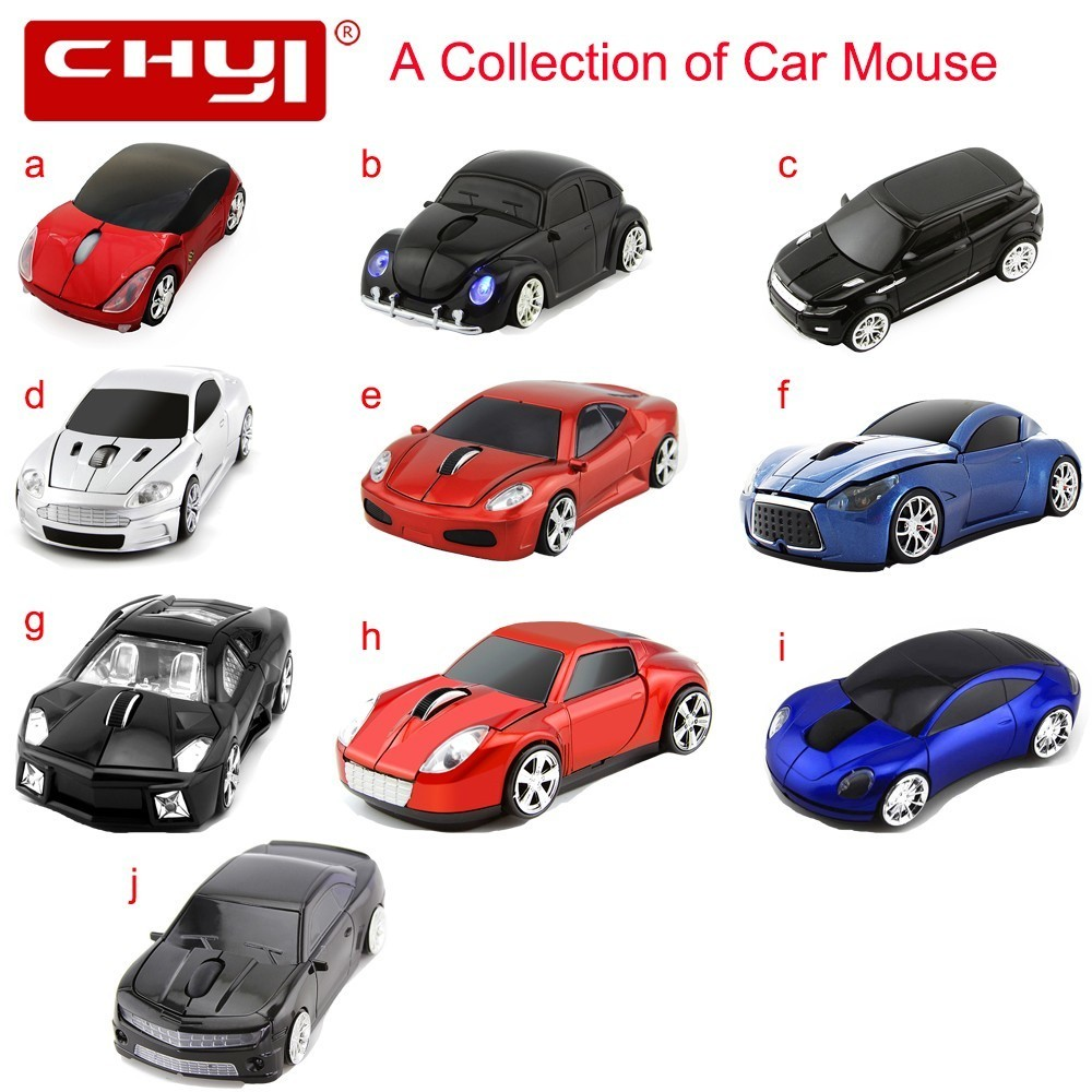 CHYI Car Mouse Ergonomic 2.4Ghz 1600 DPI A Collection of Famous Cars Wireless USB Receiver Sports Car Mice For PC Laptop Desktop