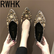 RWHK Korean fashion shoes shallow mouth flat shoes women's shoes 2019 spring new rhinestone pearl print cloth pointed shoes B489