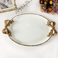 European Model Room Decoration Golden Tray Creative Resin Crafts Vintage Decoration Mirror Storage Tray