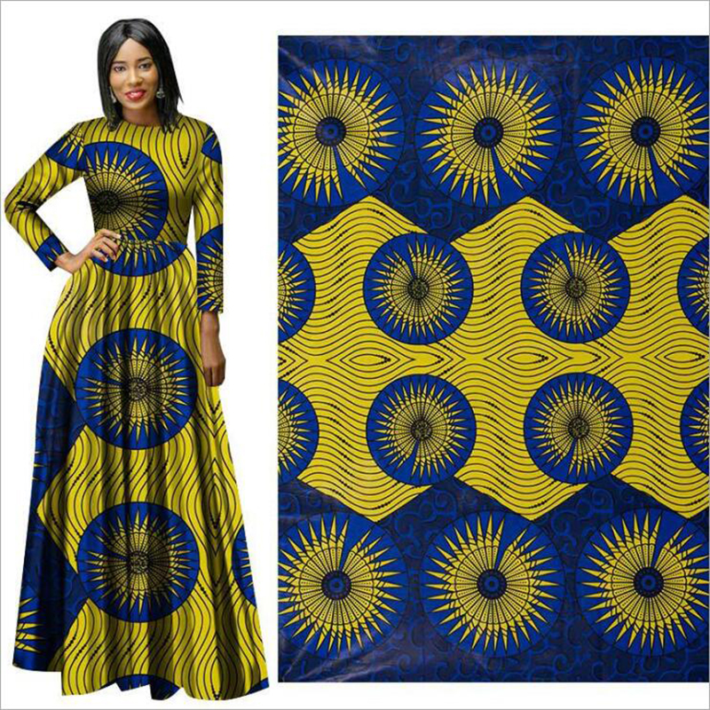 Me-dusa 2019 new yellow blue African Print Wax Fabric 100% cotton Hollandais Wax Dress Suit cloth 6yards/pcs High quility(China)