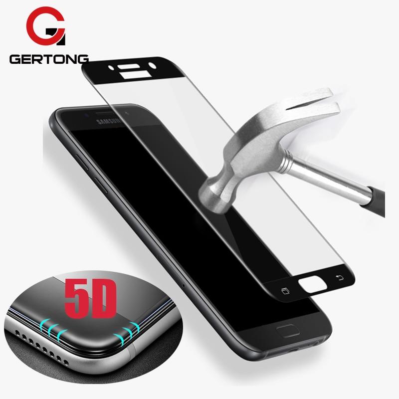 Galleria fotografica GerTong 5D Curved Edge Tempered Glass for Samsung Galaxy A3 2017 A5 A7 J3 EU J5 J7 Prime Film for Samsung A5 2017 A8 Plus 2018