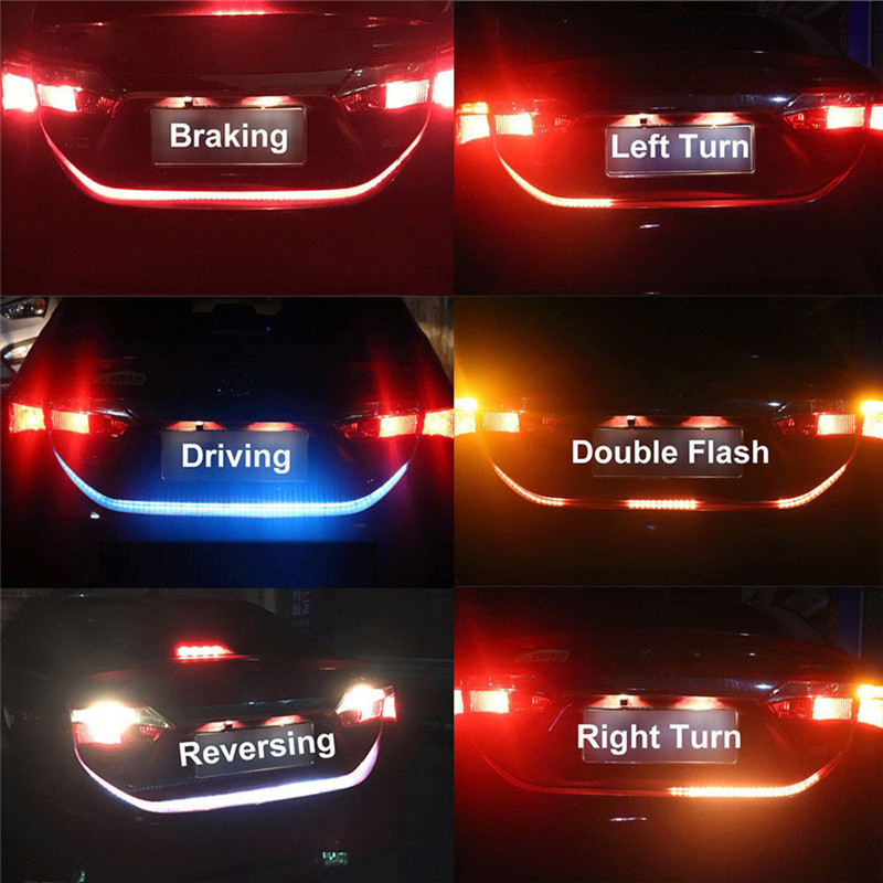 Fast Deliver 1.2m 12v Rgb Flow Type Led Car Tailgate Strip Waterproof Brake Driving Turn Signal Light Car Styling 4 Colors Bright And Translucent In Appearance