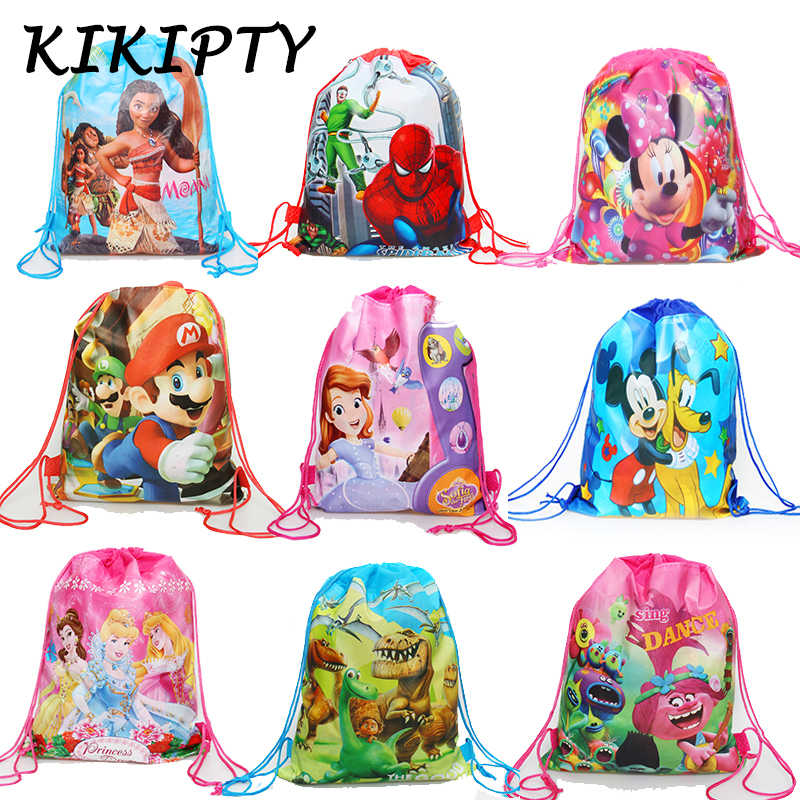 1pcs Carttoon Minnie/Mickey/Princess/Mario/Spiderman drawstring bag kids school Backpack unicorn party supplies gift bag