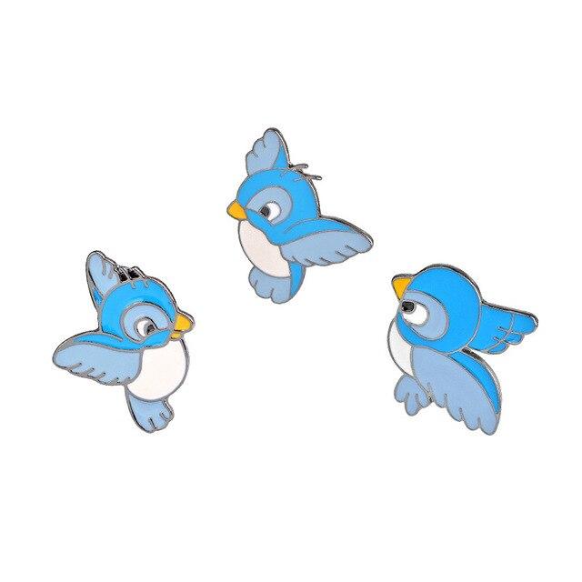 dos desenhos animados animal esmalte liga broche jóias da moda bonito mulheres pinos broche azul passarinho pequeno pardal aves broche em broches de