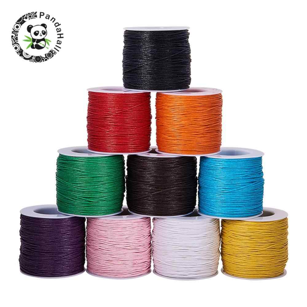 PANDAHALL 100Yard 1mm Waxed Thread Cotton Cord String Strap For DIY Bracelet Necklaces Braided Jewelry Findings Making 24 Colors