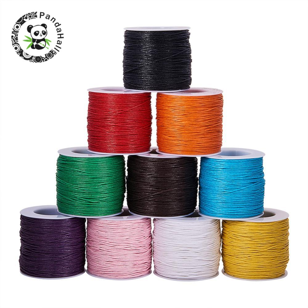 100 Yard Waxed Thread Cotton Cord 1mm String Strap Fit Shamballa Bracelet Necklaces For Jewelry Findings Making DIY 24 Colors
